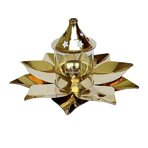 Borosil Kamal Diya, Brass Table Diya (Diameter 19 cm)