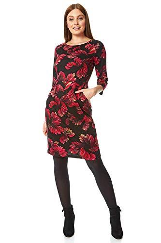 Roman Originals Femme Robe Motif Floral Feuille - Automne Hiver Manches 3/4 Confortable Doux Pull Sweater Simple Fleurie - Rose - Taille 38