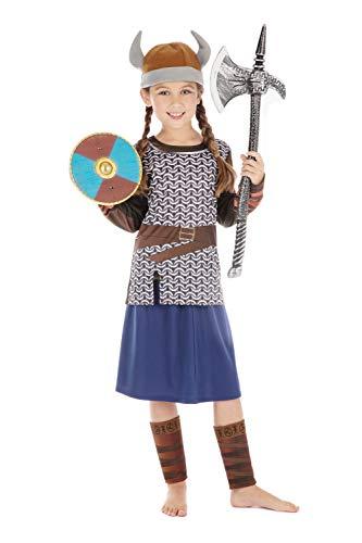 Bristol Novelty CF205 Wikinger Kostüm, Mädchen, Braun/Blau, Größe S (Wikinger Krieger Kinder Kostüm)