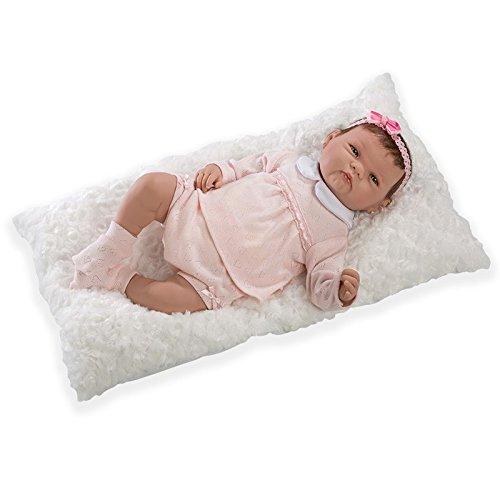 Munecas Guca 10065spezielle Haar Rocky Reborn Baby-Puppe in rosa Kostüm und weiß Pad, ()