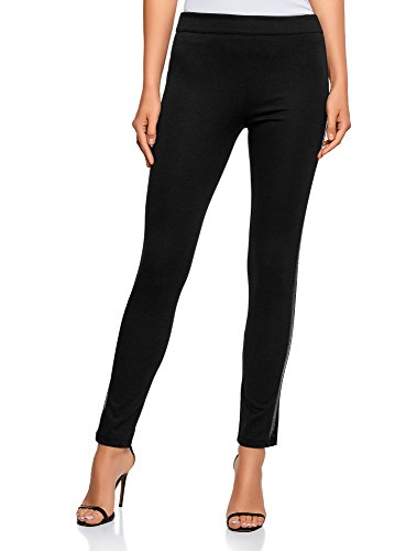 Oodji ultra donna leggings in maglia con finitura decorativa, nero, it 40 / eu 36 / xs
