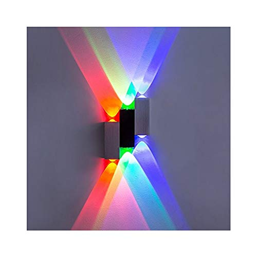 Lightess applique da parete interna in alluminio spazzolato 6w lampada moderna da muro per camera da letto soggiorno bagno multicolore