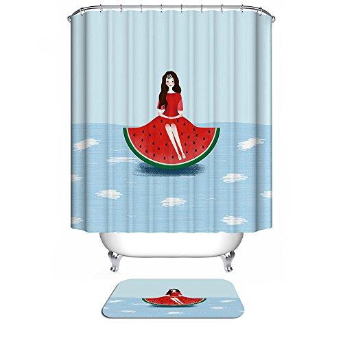 MIWANG einfache Wassermelone kleid American Girl Duschvorhang, Badezimmer wasserdicht Anti-schimmel Vorhänge Vorhänge an den Fenstern, mit 12 Haken, W180*H 200 cm, 100% Polyester - Kleid Duschvorhang