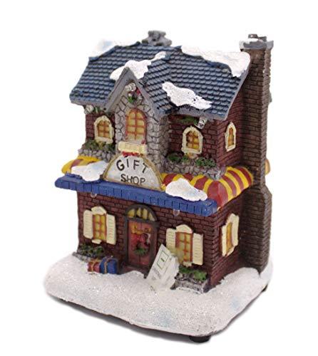 Weihnachtshaus mittelgroß - Geschenkeladen - bunt und beleuchtet - 5 LED - Lichthaus - Weihnachtsambiente - Winterszene - Nikolaushaus