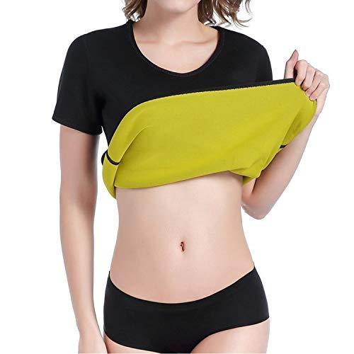 JEEZAO Faja Reductora Mujer Camisetas Sauna Adelgazantes para Mujer Chaleco de Neopreno Corset para Sudoración, Quema Grasa, Faja Abdomen (Negro,M)