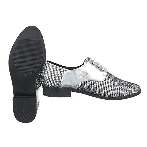 Schnürer Damenschuhe Oxford Blockabsatz Schnürer Schnürsenkel Ital-Design Halbschuhe Silber