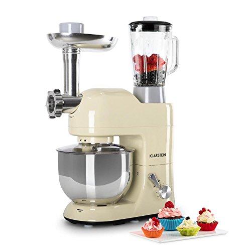 Klarstein Lucia Morena - Universal Küchenmaschine, Rührmaschine, 1200W, 5L, planetarisches Rührsystem, Fleischwolf, Pasta-Aufsätze, Mixbecher mit 1,5 L, 6-stufige Geschwindigkeit, creme