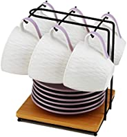 Porcelain Cup and Wooden Saucer Set With Wooden Rack - 6 Piece Set + 1 Rack-Purple- BD-TS-PUR