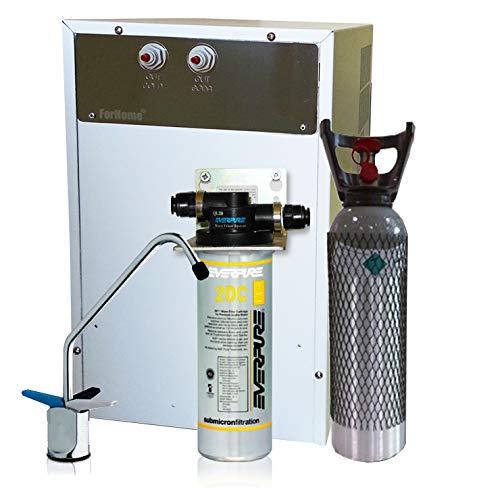 Wasserfilter System ForHome® für die küche Kühler Karbonator Wasseraufbereiter Mikrofiltrations Wasser Everpure von Spüle, gekühlte Kühlwasser Sprudelwasser mit 3-Wege Hahn +1 CO2-Zylinder