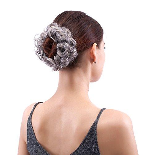 Merrylight Haargummi gelocktes unordentlicher Dutt Haarteil mit Gummi(0629 Gemischtes Grau & Weiß-M3/60)