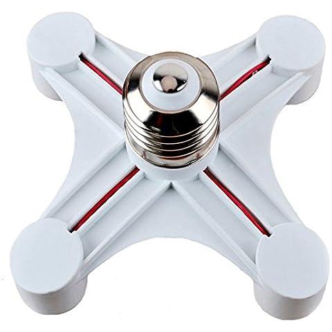 Uniox E27a E27estándar tamaño mediano Base Luz Bombilla Socket 4en 1divisor adaptador