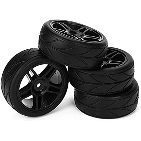 DN HSP RC 1:10 Flat Car Racing rueda de estrella Llantas Flecha Semillas Neumáticos 65mm OD (paquete de 4)