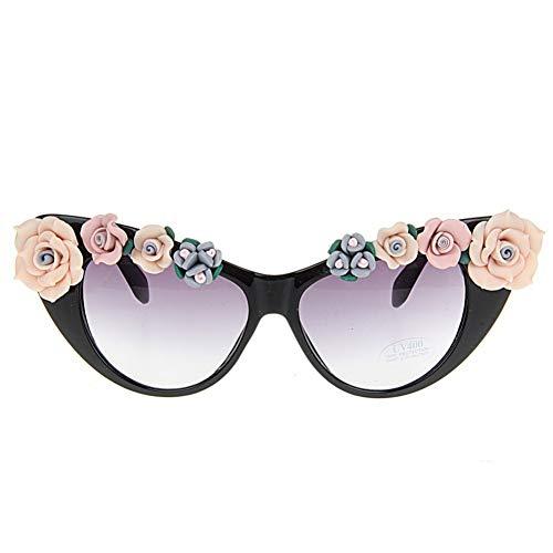 LLISA New Retro uv400 Sommer Brille Strand Sonnenbrille lila floral cat Eye Frauen Sonnenbrille,1