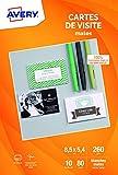 Avery 80 Cartes de Visite à Bords Lisses - 85x54mm - Impression Jet d'Encre - Blanc (C32015)...