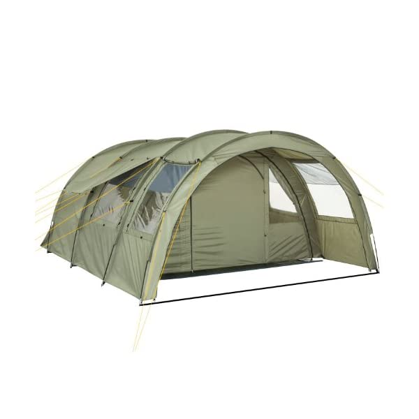 CampFeuer - Tunnel Tent with 2 Sleeping Compartments, Olive-Green, with Groundsheet and Movable Front Wall 3