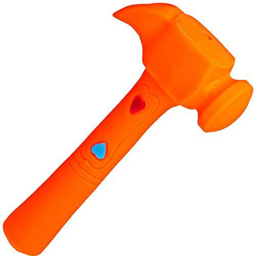 alles-meine.de GmbH Gummihammer / Softhammer / Hammer - Quietscher -  orange  - BPA frei ! - Quietschtier - Spielzeughammer weicher Gummi Babyhammer / Kinderhammer - weich Baby..