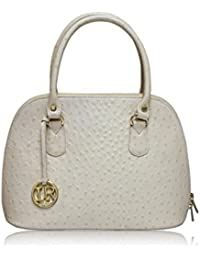 LA ROMA OSTRICH PRINTED GENUINE LEATHER HANDBAG