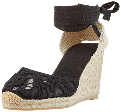 Leder Sandale Denim (Damen Klassische Denim Spitze Keilabsatz-Espadrilles mit Bändern zum Schnüren Schwarzlace36)
