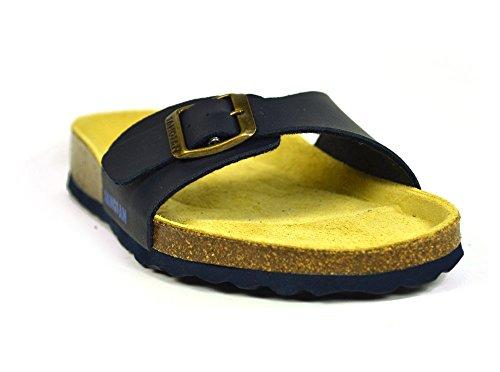 Sandales tongs à bout ouvert Malaga sanosan Étui à rabat pour femme New Sangle réglable Bleu - Bleu marine