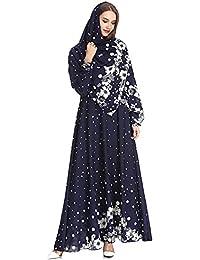 7421116ba2f0 DAZISEN Vestito Casuale Ricamato da Donna - Vestito Lungo di Media Lunghezza  Allentato(Hijab Incluso