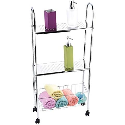 Protenrop 9880 - Carro de baño con 2 estantes y una cesta