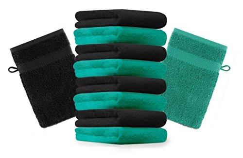Betz lot de 10 gants de toilette taille 16x21 cm 100% coton Premium couleur noir, vert émeraude