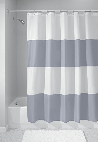 mDesign e muschio Spak resistente tessuto di lusso a righe Tenda Doccia Vasca da bagno 180cm x 180cm-blu/bianco
