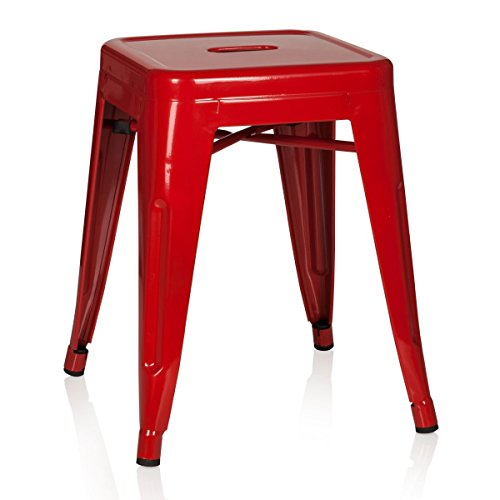 hjh OFFICE 645001 Hocker niedrig VANTAGGIO Metall Rot Sitzhocker im Industry-Design, stapelbar