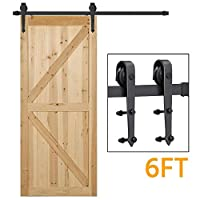 Yaheetech 6 FT/183cm Black Retro Style Sliding Barn Wood Door Hardware Closet Set For Single Wooden Door