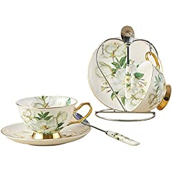 Osso Porcellana Ceramica 2 serie Tazza Di Tè Tazza Di Caffè, Camelia, Bianco E Verde