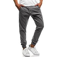 Pantalón Chandal Hombre Deportivos Color Sólido y Botón y Bolsillo Fitness Gym Invierno Pantalones Derecho Casuales