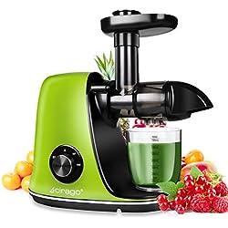 Extracteur de Jus CIRAGO, Extracteur à Jus avec deux vitesses de réglage, facile à nettoyer, moteur silencieux, centrifugeuse à pression froide pour légumes et fruits, sans BPA