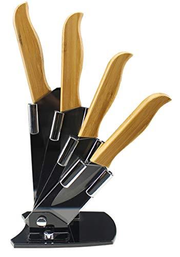 EwigYou 5-TLG Schwarzes Keramikmesser-Set 4 Keramikmesser mit Bambusgriff Allzweckmesser Küchenmesser mit Messerblock