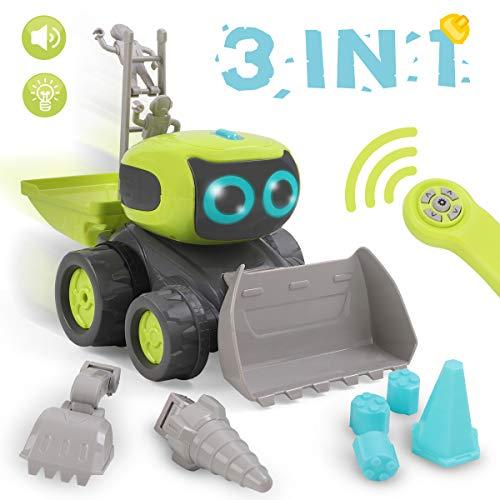 Auto Spielzeug, Ferngesteuertes Baufahrzeug Spielzeug Geschenke für Kinder, 3 in 1 Montage Baufahrzeug Spielzeug, Elektrisches Lernspielzeug Auto mit Lichtern & Musik & Tanzen ()