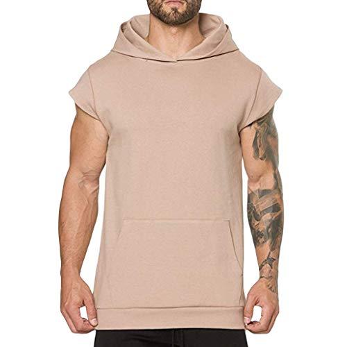 ace48f254 OPAKY Hombres de Verano Casual con Capucha Bolsillo Manga Corta Deporte  Camiseta Top Chaleco Blusa Camiseta