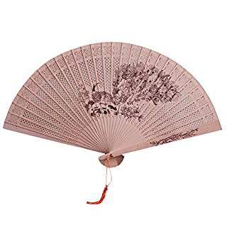 MEETEW Folding Fan Handheld Chinese Sandalwood Scented Hand Held Fold Fans Summer Cool for Wedding Home Decoration, Birthday