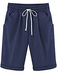 04e0f26801578b Bermuda Shorts Damen Knielang Sommer Kurze Hose mit Gummizug Frauen Große  Größen Loose Stoffhose…