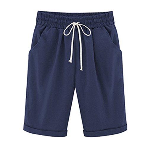 Bermuda Shorts Damen Knielang Sommer Kurze Hose mit Gummizug Frauen Große Größen Loose Stoffhose Stretch