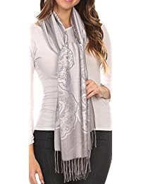 Sakkas Maela Extra Long Large Patterned Traditional Fringe Pashmina Shawl / Scarve