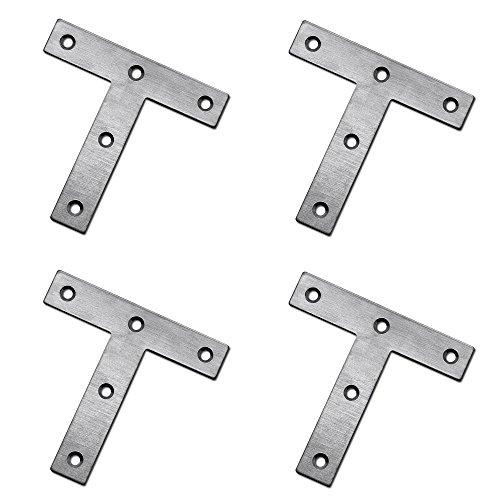 Eckwinkel T-Winkel Verbindungsblech Edelstahl Beschlag Flach-Verbinder Lochplatte Nagelplatte Holz Scharnier Beschlag, Modell:4 Stück - 80mm x 80mm