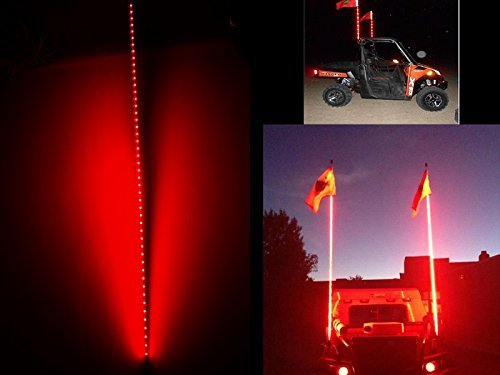 LED-Antenne Licht New Night Stalker Peitsche führte Strand Peitschen Flagge Licht 1,5 MT Motorrad ATV UTV Sand Dune Flagge LED Bar für Outdoor Offroad Snowmobile Motorrad (rot)