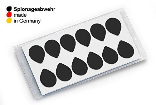 SPIONAGEABWEHR - 12 Stk. CAMSTICKER® Ø6mm - STARTER SET - SCHWARZ GLÄNZEND - Kamera Aufkleber für integrierte Miniwebcams - Für Smartwatch, Handy, Tablet, Notebook, Laptop, Monitor & Fernseher