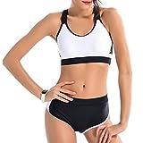 Kootk Frauen Zwei Stück Bikini Sportbekleidung Neckholder Strand Badeanzug, 3 Farben (Asiatische S-2XL)