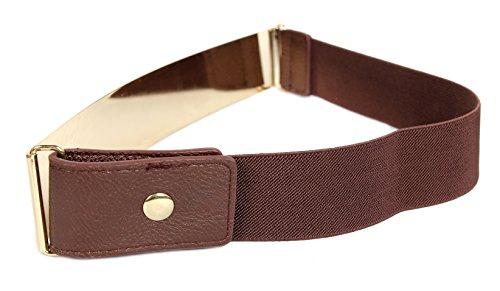 Schnalle Breite Korsett (Frauengürtel, Gold Metall oder Silber Metall Platten mit Stretch-elastischen Band, eine Größe 30 x 5 cm Gold Braun)