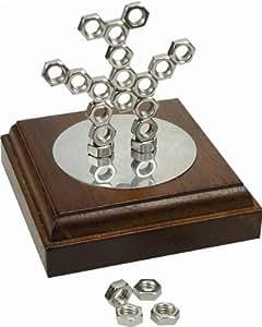 Madelcar - Sculpture magnetique ECROUS, avec base en bois, 9x9 cm 04212MD