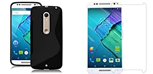 Moto X Style Hard Silicone Back Cover For Moto X Style + Tempered Glass For Moto X Style