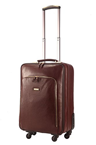 baigio-lightweight-leather-suitcase-trolley-hand-luggage-cabin-carry-on-travel-bag-56-cm-33-l-brown