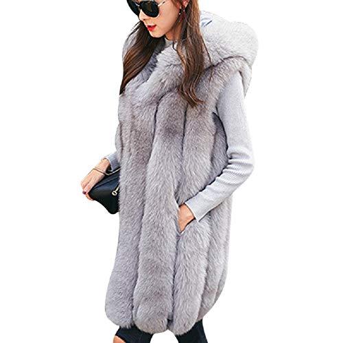 mioim Damen Faux Pelz Weste Ärmellose Lange Jacke Vest Kunstpelz mit Kapuzen Winter Herbst Pelzmantel Fellweste Mäntel S-XXXL (XXXL, Hellengrau)