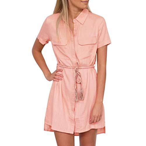 CANDLLY Kleider Damen,Sommer Netter Mode Crinoline Elegant Umlegekragen Solide Lässig Kurzarm Button Up Lose Hemdtaschen Unterrock Minikleid Netter Feiertag ()