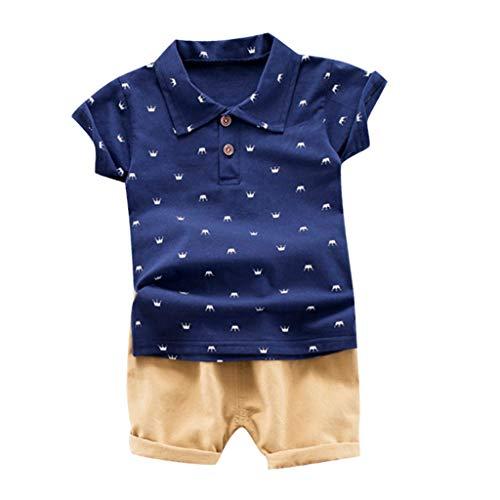 rkleidung Kurzarm Krone Bart bedrucktes Hemd T-Shirt + einfarbige Shorts Zweiteiliger Anzug (1-3 Jahre alt)(Marine, 90/M) ()